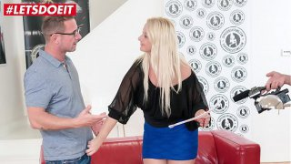 LETSDOEIT  Chubby Blonde Bambi Bell Rides a Big Cock At Casting