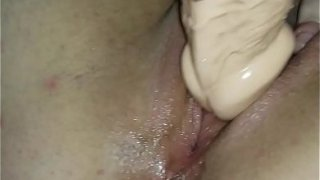 Sweet shaved pussy gives a massive load of cream and I cum twice from fucking both her holes