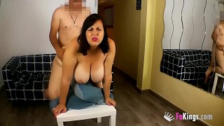 Nataly wants to be a porn performer. She and her HUMONGOUS TITS are gona fuck the plumber!!