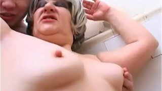 Fatty  mom sex son in the shower