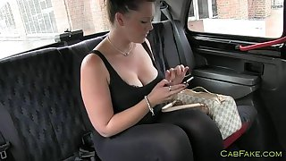 Busty fat amateur fucked in a fake taxi